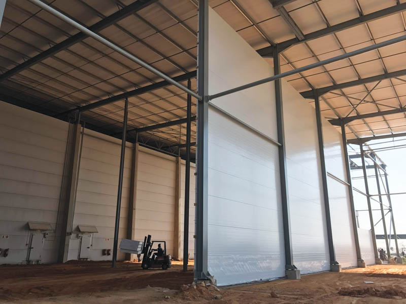 Insulated panels here form the walling of this high density cold store in construction. Photo by ©Precool Insulated Panels