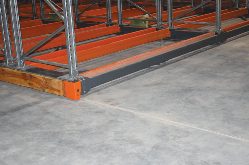 The base of a racking system indicating the types of beams used. Image credit Benjamin Brits