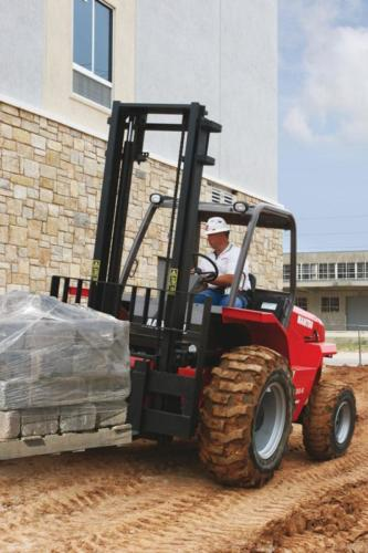 Rough terrain forklifts can be used for a variety of indoor and outdoor applications, from moving around building materials to loading produce cartons in an agricultural environment. Photo by Manitou South Africa