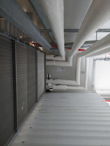 Some of the hot and cold pipework at the site for the de-greening rooms.