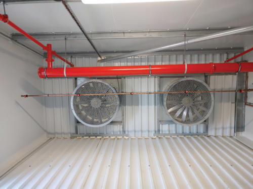 The fans and spray nozzles installed in each room.