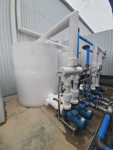The chilled water pumps and pipework showing the fibre glass and resin insulation.