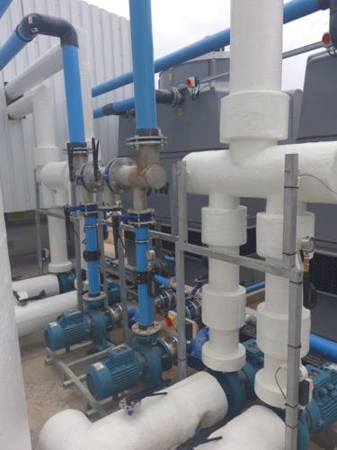 The condenser water pumps.