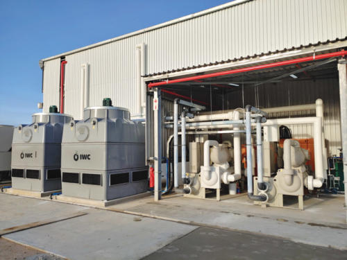 The cooling towers and chillers in the plant room.